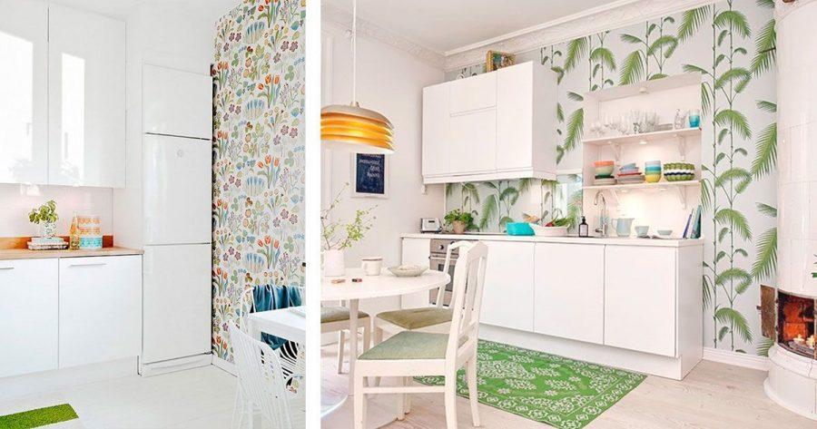 10 cocinas con papel pintado que te van a enamorar casas - Cocinas con papel pintado ...