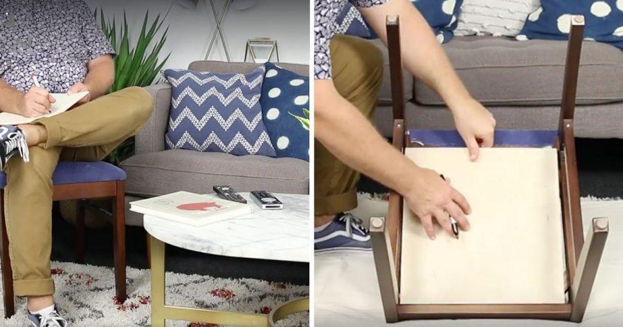 Convierte una silla de comedor en un sitio para guardar el desorden