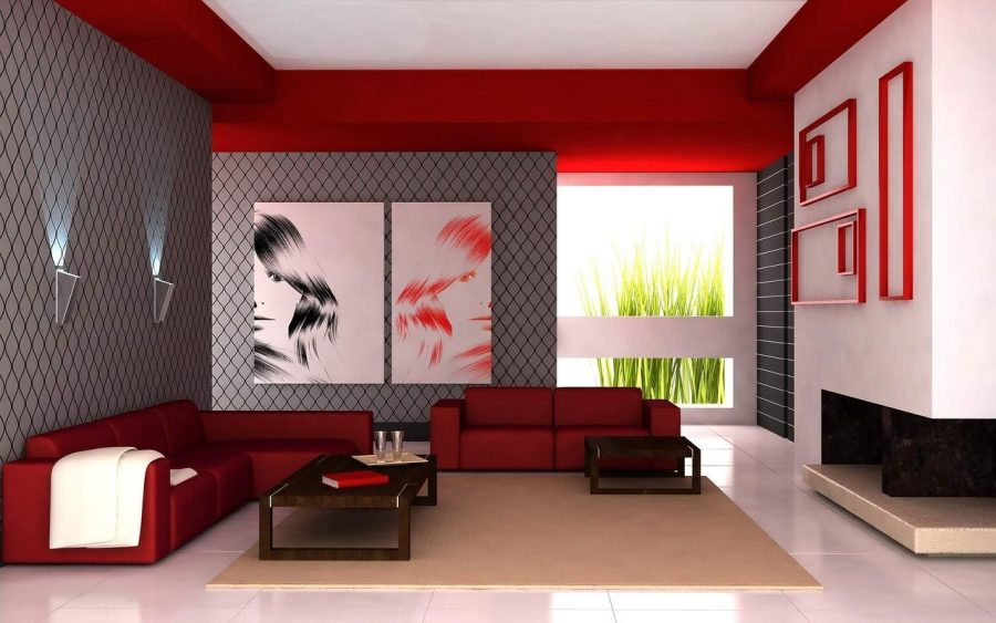 claves-estilos-salones-modernos-sofa-rojo-cuadros-ventana
