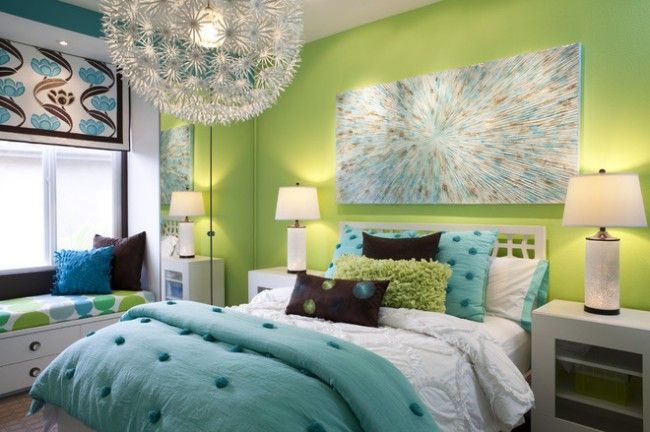 Color verde habitación moderna