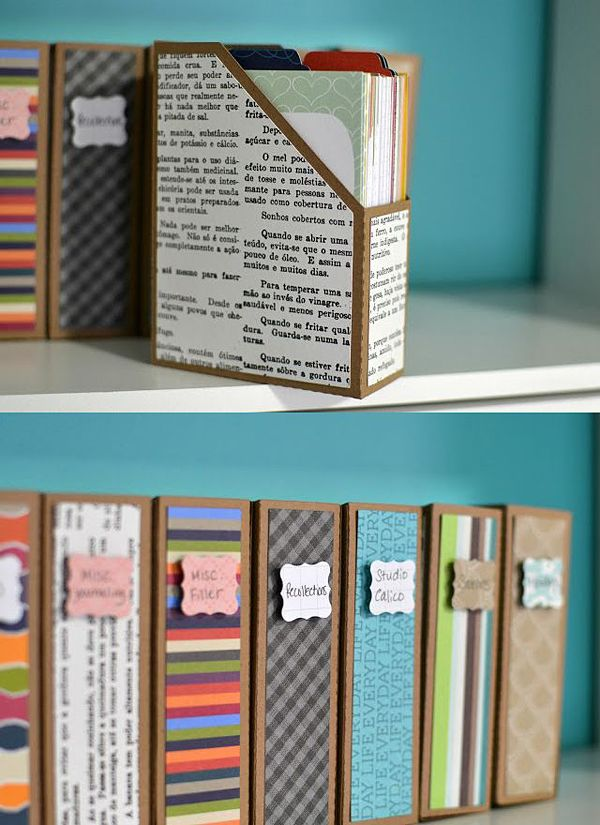 diy papel archivadores carton